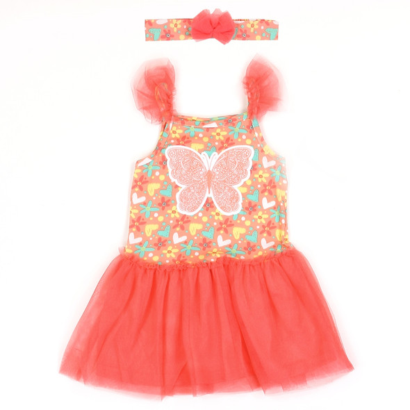 Infant Girls Butterfly Dress with Head Band