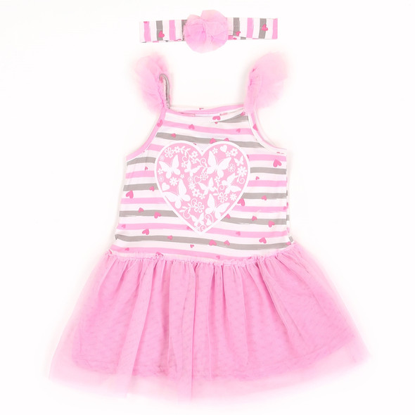 Infant Girls Pink Heart Butterfly Dress with Head Band