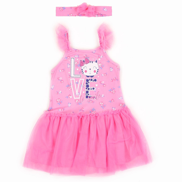 Infant Girls Pink Love Dress with Head Band
