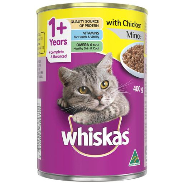 Whiskas 1+ Years Wet Cat Food Chicken Mince 400g