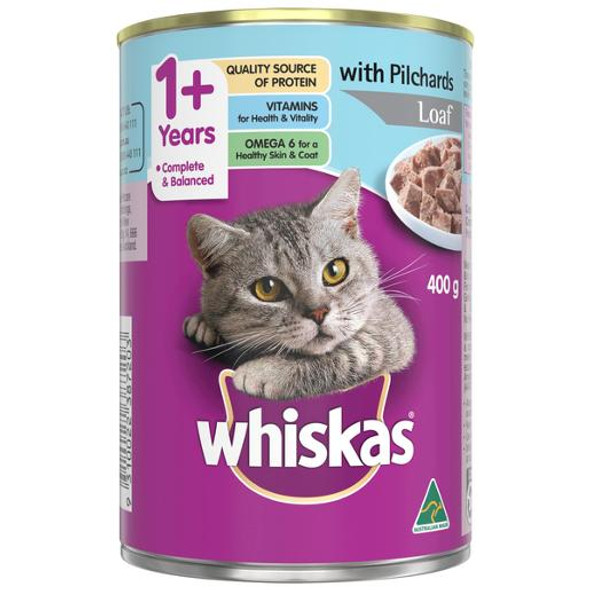 Whiskas 1+ Years Wet Cat Food Pilchards Loaf 400g