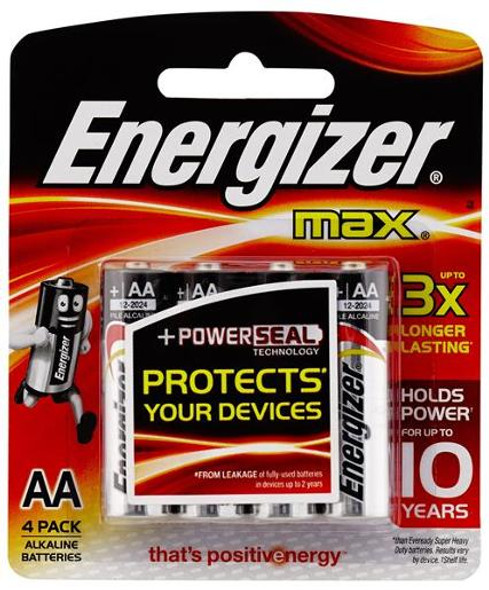 Energizer MAX AA Alkaline Batteries 4 Pack