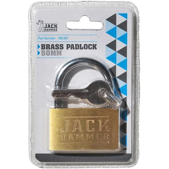 Jack Hammer Brass Padlock 50mm Single