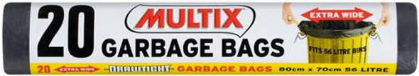 Multix Drawtight Roll Garbage Bags 56l 20 Pack