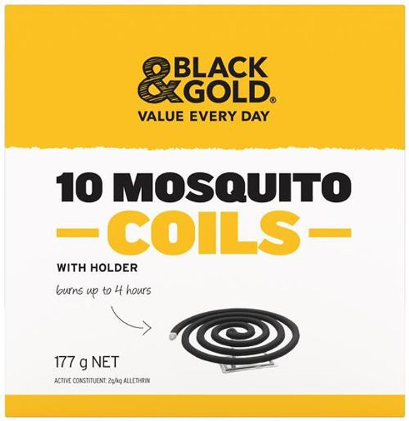 Black & Gold Mosquito Coils With Holder 10 Pack