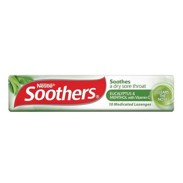 Nestle Soothers Eucalyptus & Menthol With Vitamin C Medicated Lozenges 10 Pack