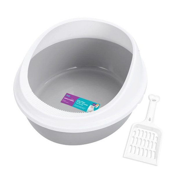 Paws & Claws Cat Litter Tray with Rim & Scoop 10l