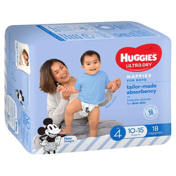 Huggies Ultra Dry Nappies Toddler 10-15kg Boy Size 4 18 Pack