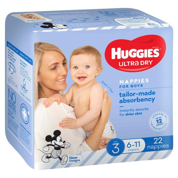 Huggies Ultra Dry Nappies Crawler 6-11kg Boy Size 3 22 Pack