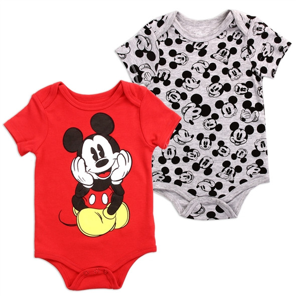 Baby Boys New Born Red Mickey Mouse Bodysuit 2 Pack