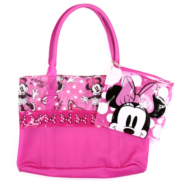Minnie Mouse Pink Girls Beach/Pool Tote with Wet Bag