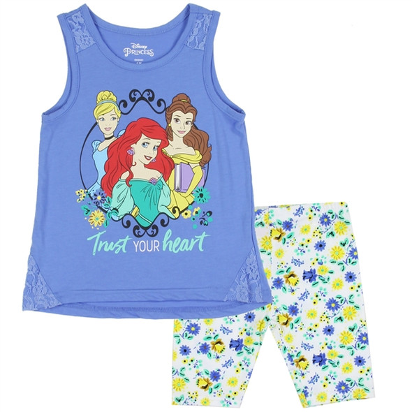 Princess Girls 2PC Blue Bike Short Set