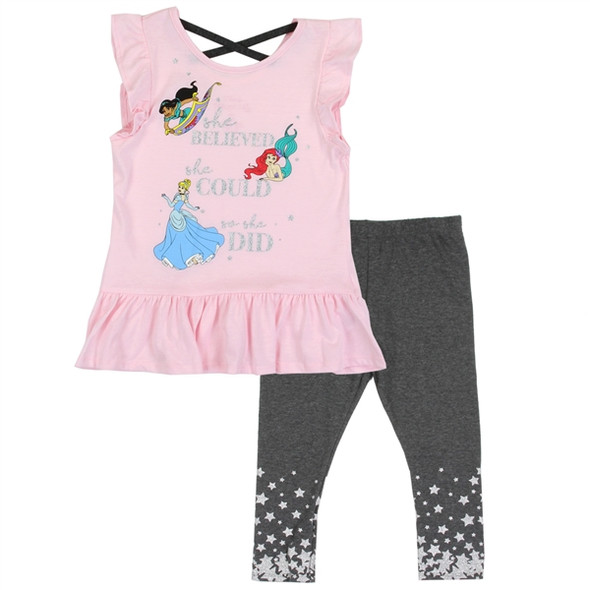 Princess Girls 2PC Pink Capri Legging Set