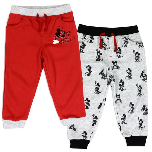 Mickey Mouse Boys 2-Pack Red/Grey Fleece Track Pant