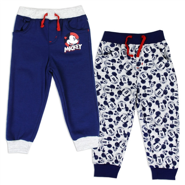 Mickey Mouse Boys 2-Pack Navy/Grey Fleece Track Pant