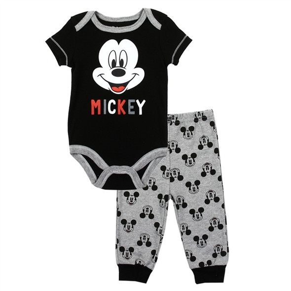 Mickey Mouse Black Boys 2PC Creeper Pant Set
