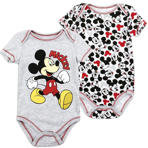 Baby Boys New Born Grey Mickey Mouse Bodysuit 2 Pack