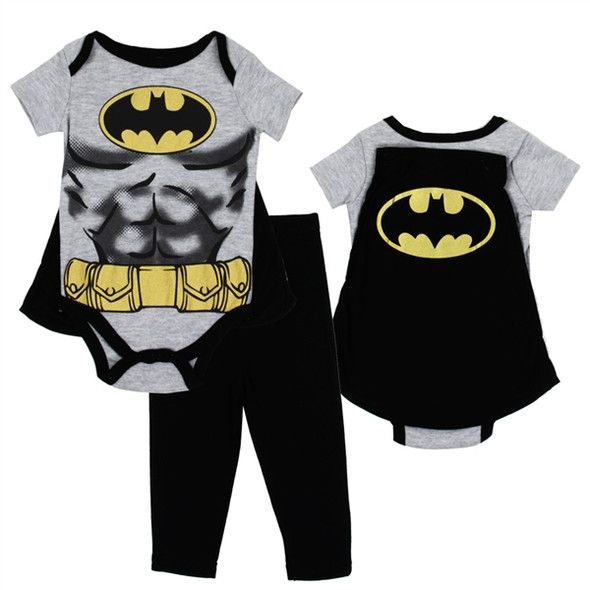 New Born Batman Boys 3PC Bodysuit & Pant Set with Cape