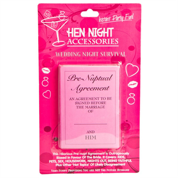Hens Night Pre-Nuptial Agreement Accessory