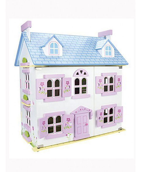 Leomark White Wooden Dolls House With Furniture And Dolls