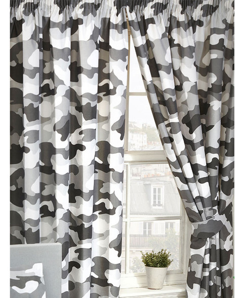 Grey Army Camouflage Lined Curtains 168cm x 183cm