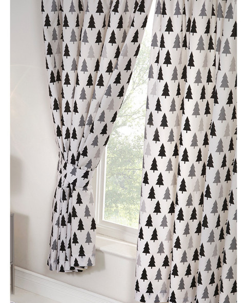 Scandi Bear Forest Lined Curtains 168cm x 183cm