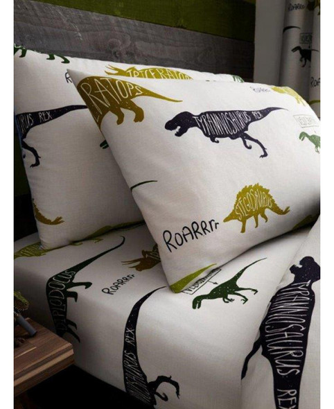 Dinosaurs Single Fitted Sheet And Pillowcase Set