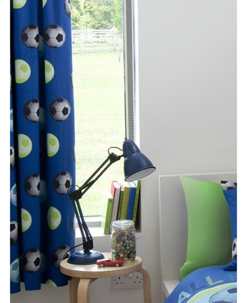 Catherine Lansfield Lined Football Curtains - Blue 168cm x 183cm