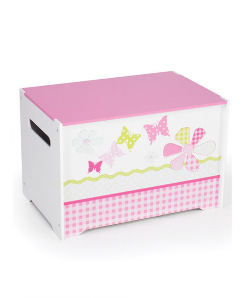 Girls Pink Patchwork Toy Box