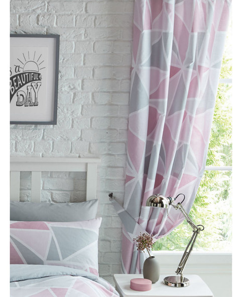 Metro Geometric Triangle Lined Curtains - Pink / Grey 168cm x 183cm