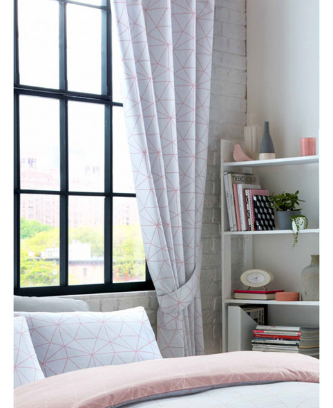 Metro Prism Triangle Lined Curtains - Blush / Grey  168cm x 137cm