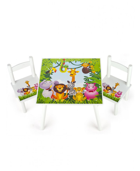 Jungle Animals Wooden Table And Chairs