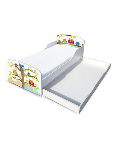 Owls Toddler Bed With Underbed Storage