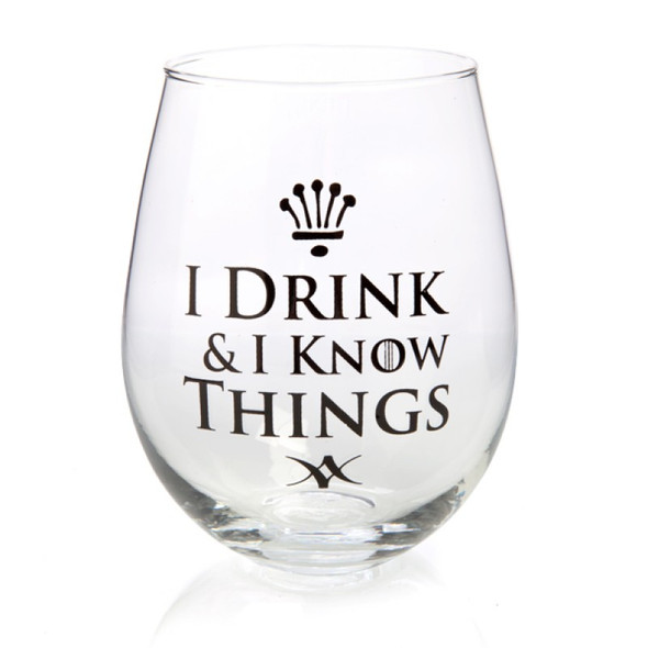 I Drink & I Know Things Stemless Wine Glass
