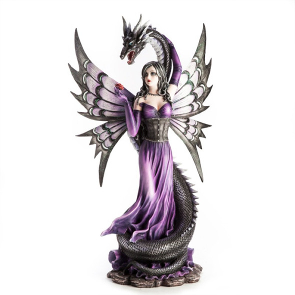 Purple Fairy with Black Serpent Figurine