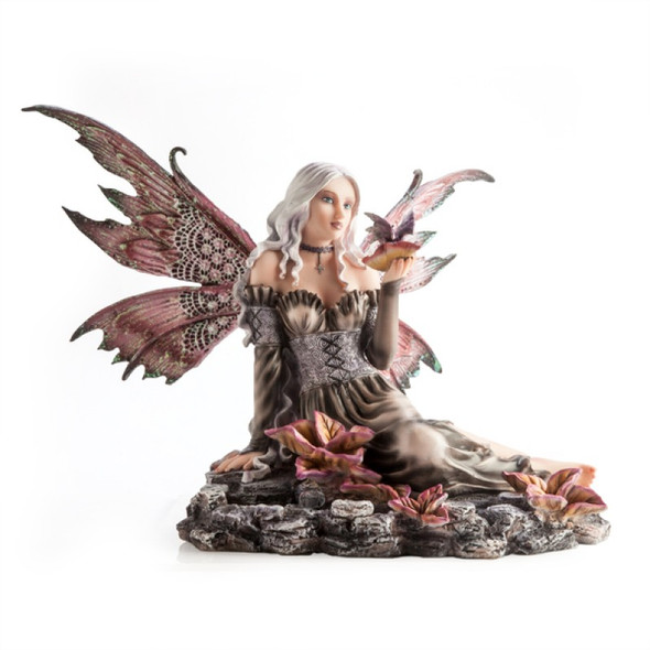 Fairy in Flower Rock Pond with Tiny Dragon Figurine