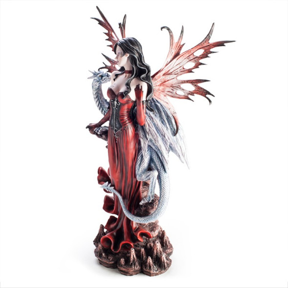 Large Red Fairy Figurine With Dragon