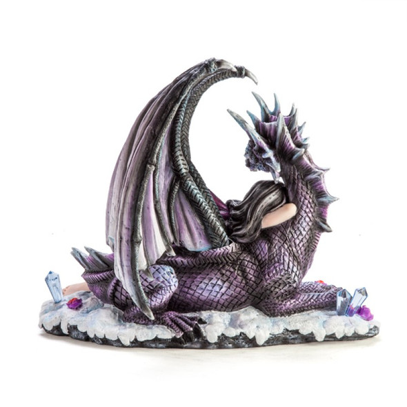 Purple Fairy sleeping on a Dragon Figurine