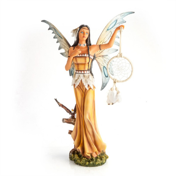 Fairy with Dreamcatcher and Owl Companion Figurine