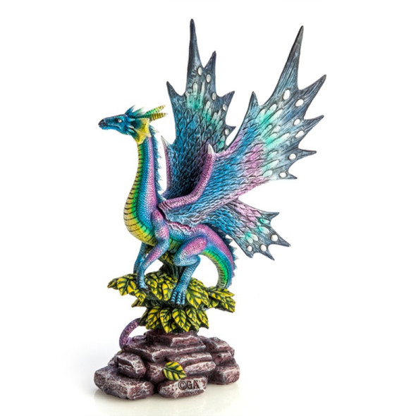 Metallic Rainbow Dragon on Leafy Stones Figurine