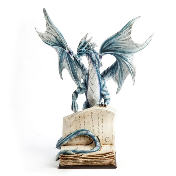 Large Blue Dragon On An Open Ancient Book Figurine