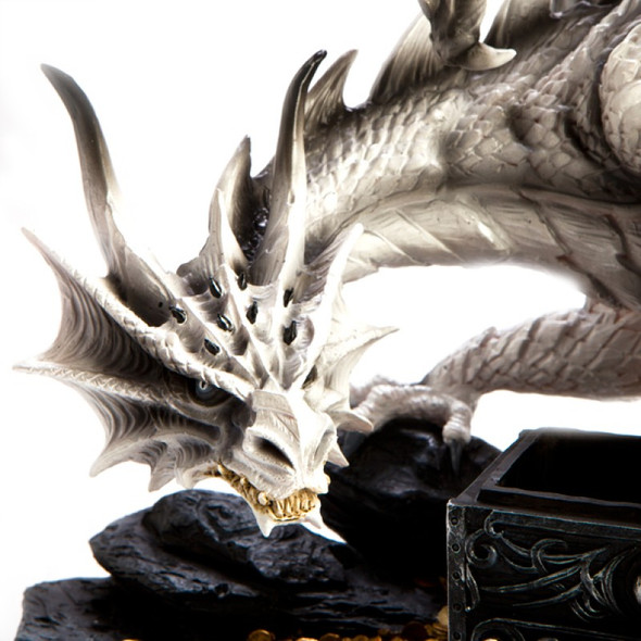 Large White Dragon Figurine Guarding Trinket Box