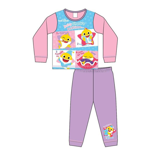 Girls Toddler Pink/Lilac Baby Shark Winter Sleepwear