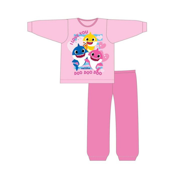 Girls Toddler Baby Shark Pink Winter Sleepwear