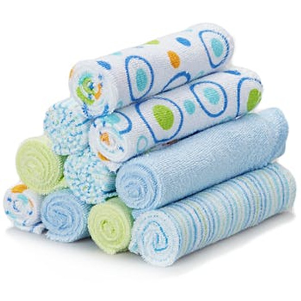 Soft Terry Baby Washcloth 10-Pack Set- Blue Bubble