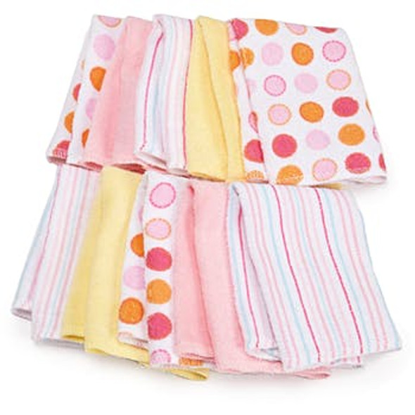 Soft Terry Baby Washcloth 10 Pack - Pink