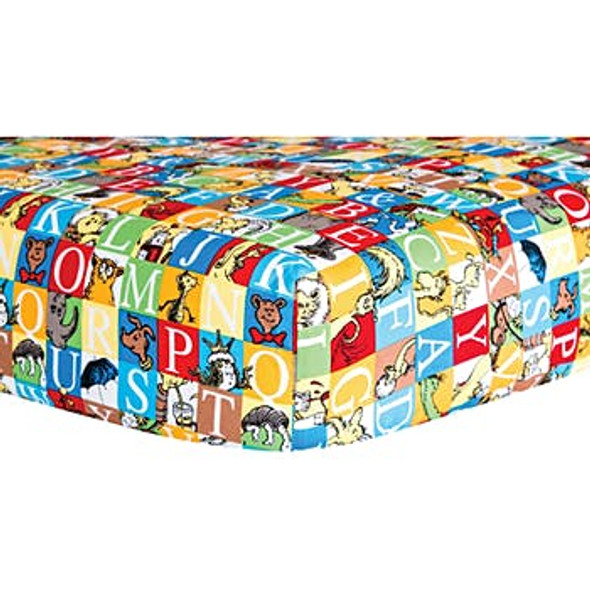 Fitted Crib Sheet - Dr. Seuss Alphabet Squares