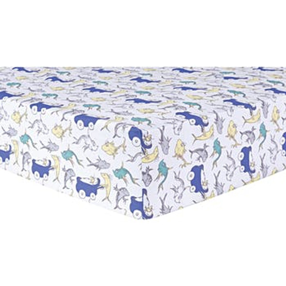 Fitted Crib Sheet - Dr. Seuss New Fish
