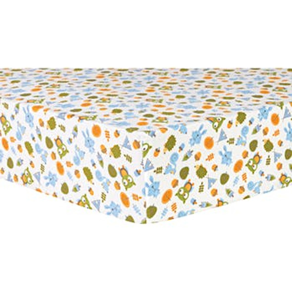Deluxe Flannel Fitted Crib Sheet - Camping Motif