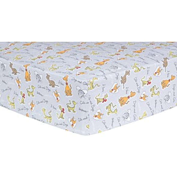 Fitted Crib Sheet - Dr. Seuss Cats and Dogs